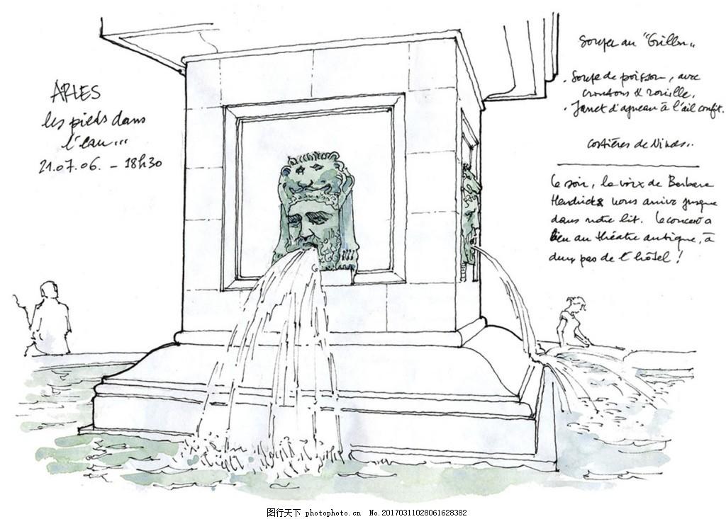 创意喷水建筑效果图 建筑平面图素材免费下载 手绘图 图纸 城堡