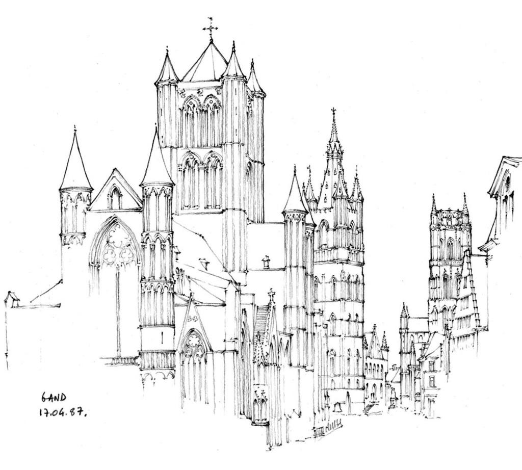 欧式黑白建筑效果图