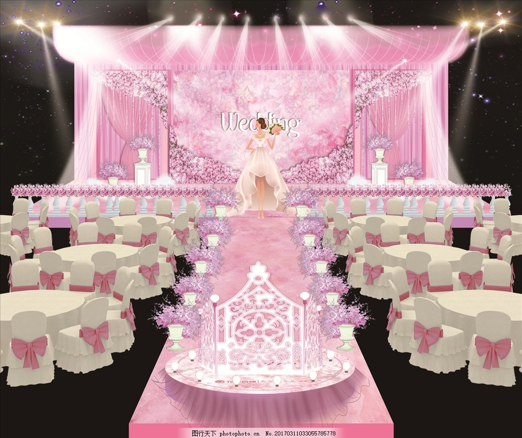 吊花 造型门 吊顶 白纱 矢量婚礼人物 婚纱 棉花 灯光 星空幕布 设计