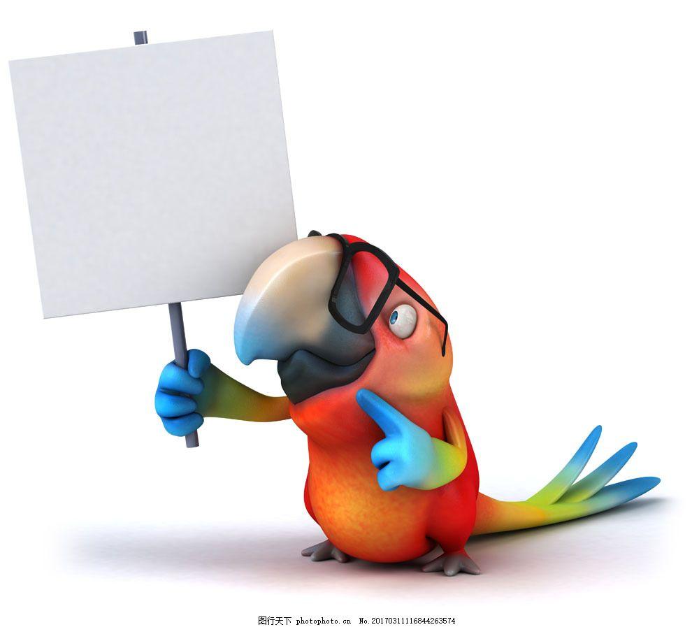 卡通鹦鹉与广告牌 卡通鹦鹉与广告牌图片素材 卡通动物 生物世界