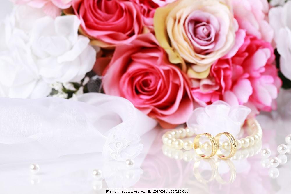 玫瑰花戒指 玫瑰花戒指图片素材 婚礼花束 鲜花背景 项链 温馨