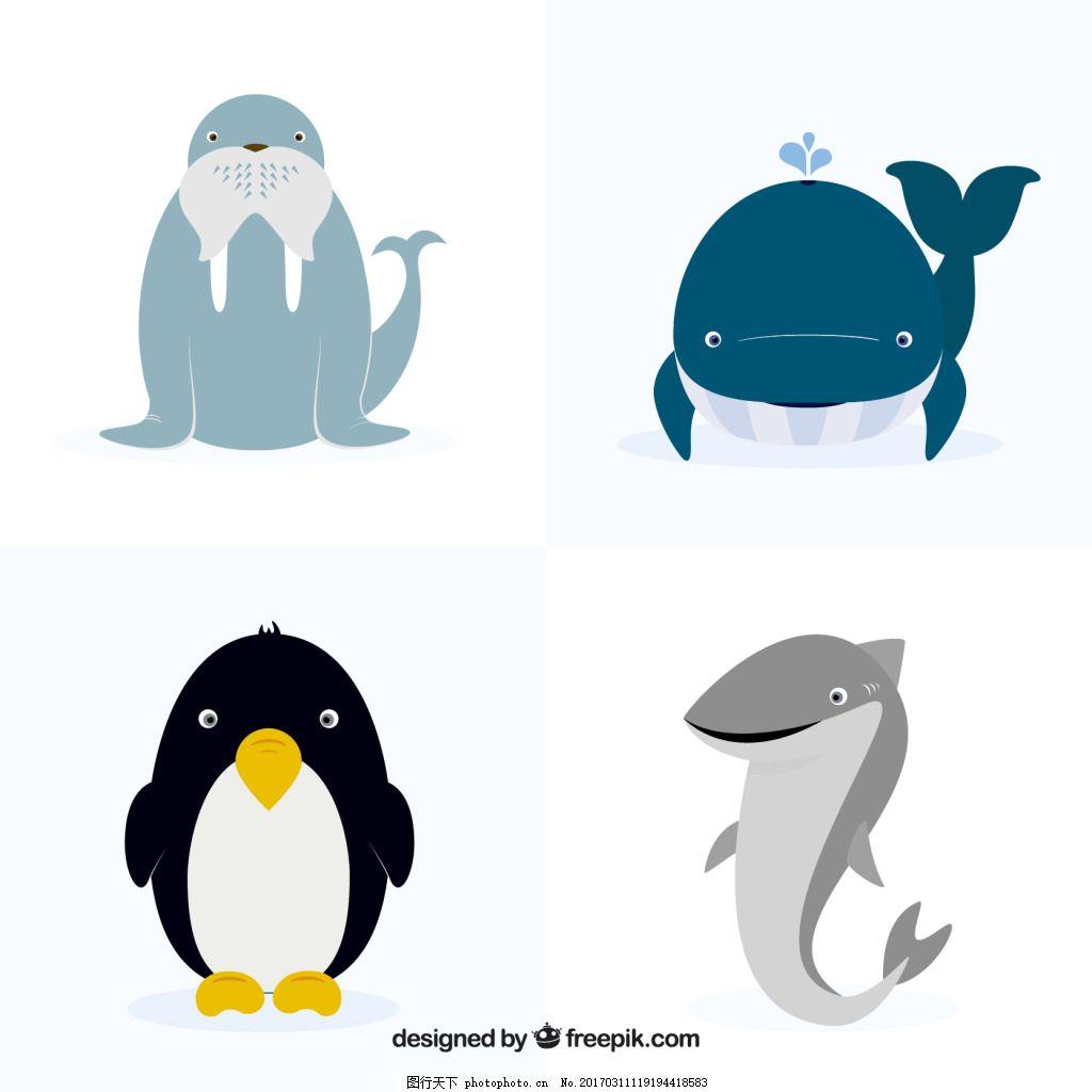 一组可爱的淡色海洋动物