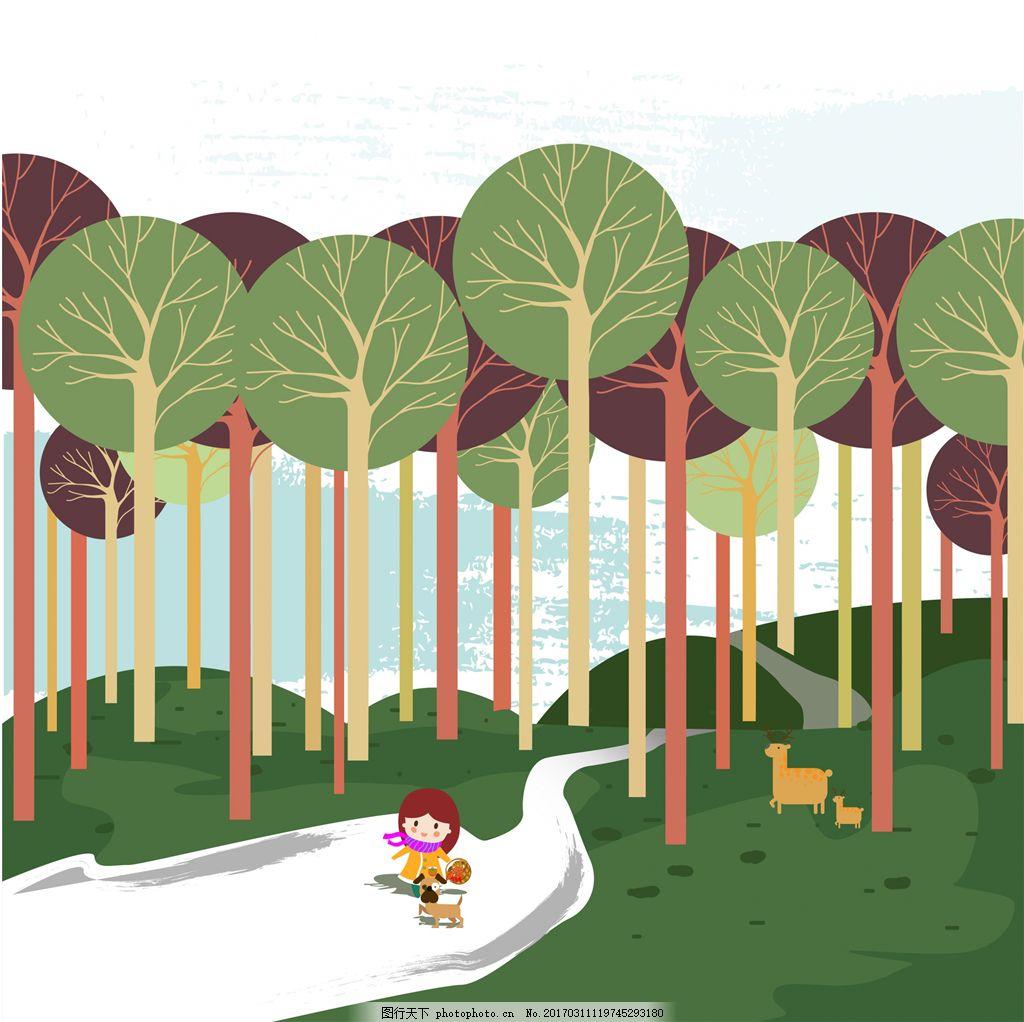 卡通森林背景绘图
