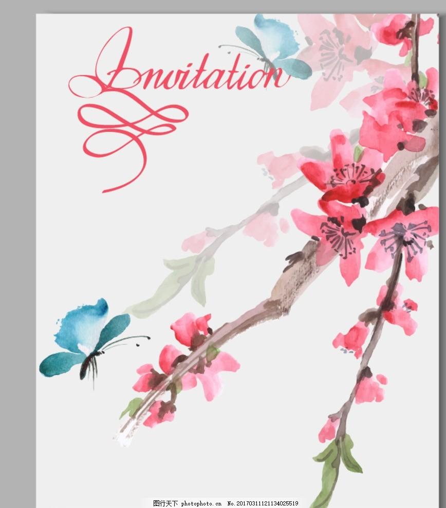手绘桃花 桃花朵朵开 桃树 粉色花 简约 简单 时尚 简约画 盆栽