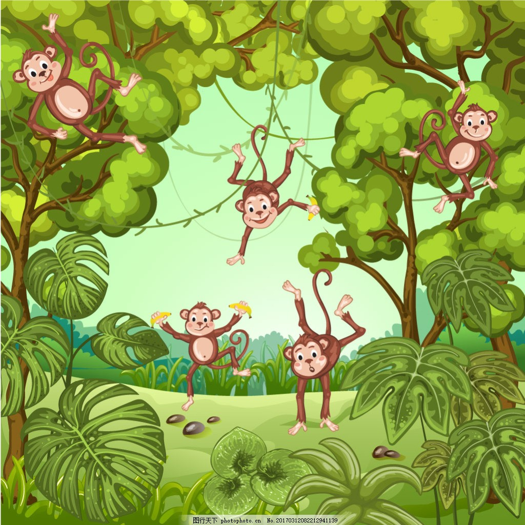 绿色森林里的动物大象猴子