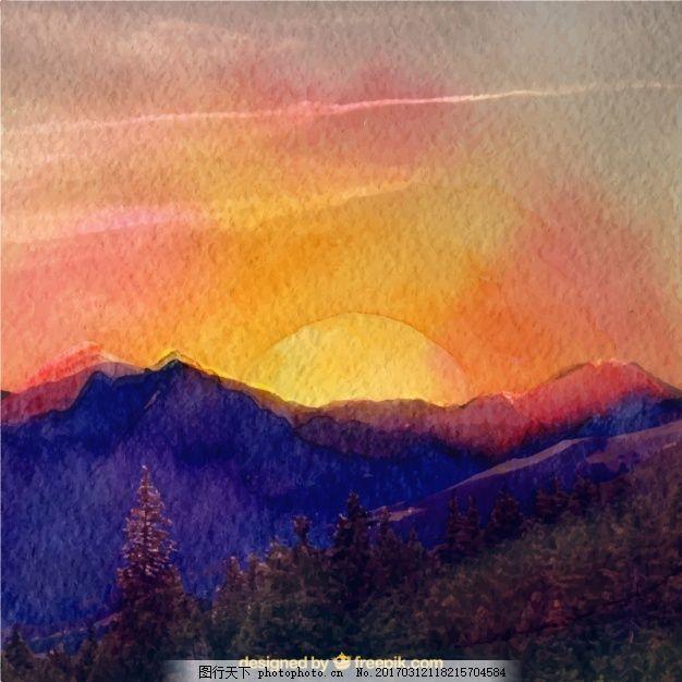 夕阳下可爱的水彩风景 背景 水彩画 自然 太阳 地球 森林 水彩画背景