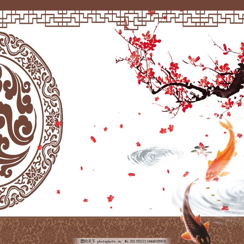 中式淘宝主图喜庆水中锦鲤飘落 古风 中国风 电商 水波纹 樱花