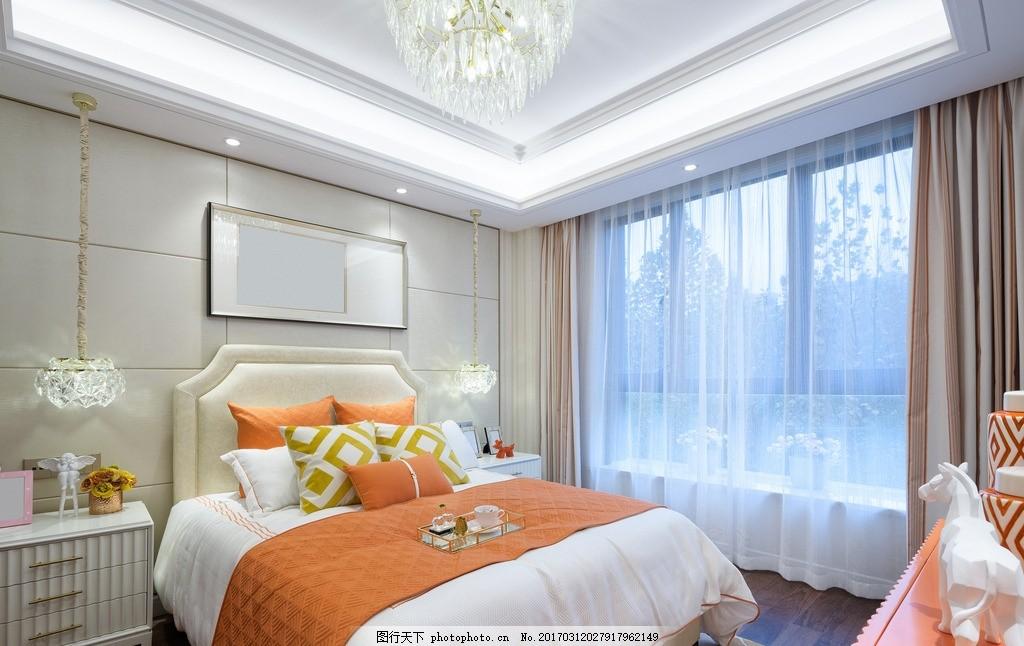 卧室 唯美 家居 家具 欧式 浪漫 简洁 简约 白色系 大床 落地窗