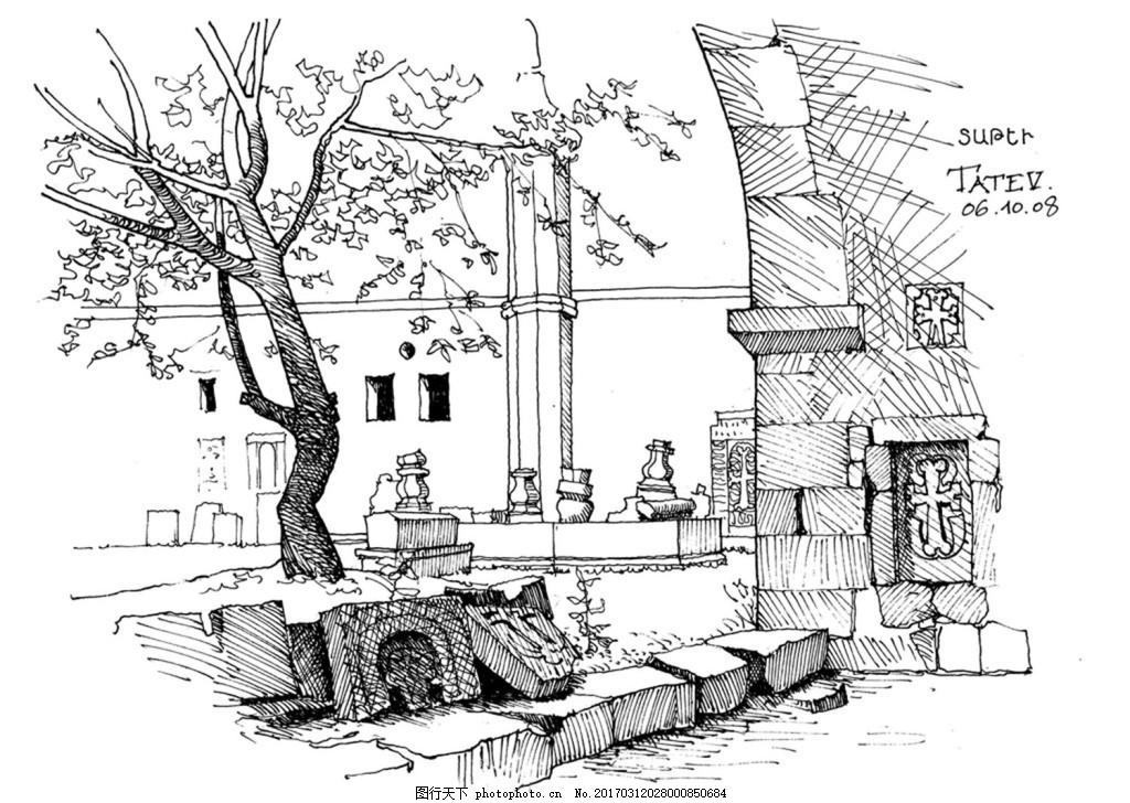 欧式建筑小院 建筑平面图素材免费下载 手绘图 图纸 城堡 建筑施工图