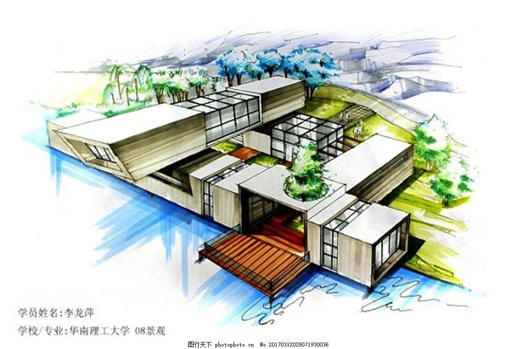 水上建筑平面图 建筑效果图图片下载 手绘图 城堡 建筑施工图 城市