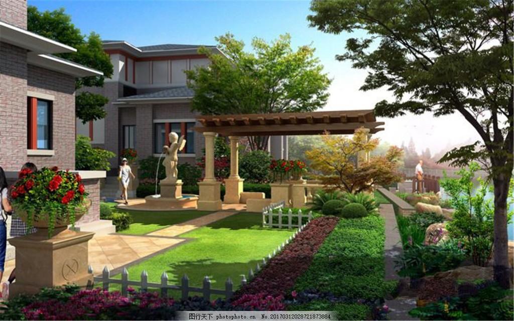 房地产效果图 广告设计模板 园林景观 园林水景 游泳池 风景 园林风景