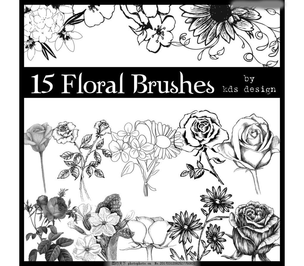 唯美的手绘线描花朵笔刷