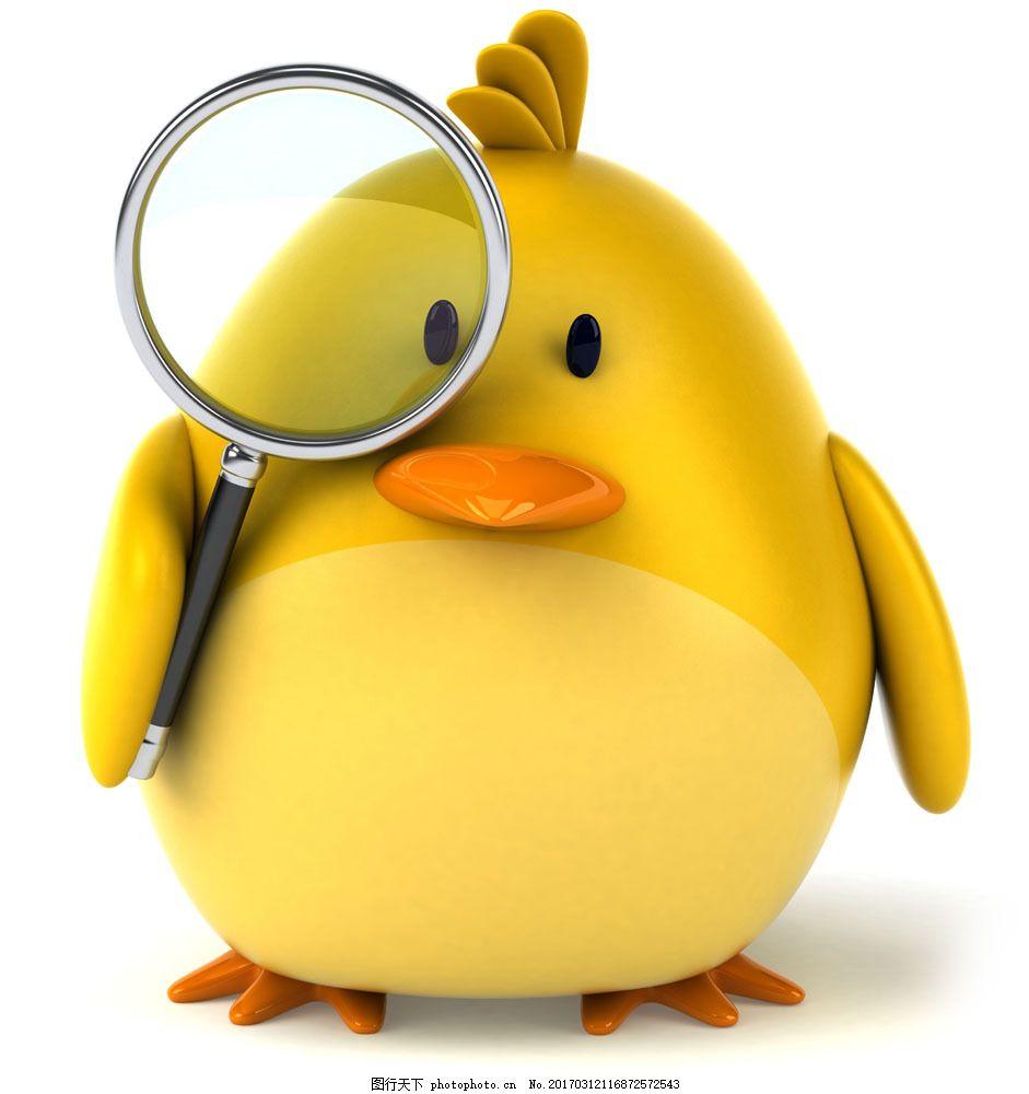 拿着放大镜的鸭子 拿着放大镜的鸭子图片素材 动物 卡通 黄色 卡通