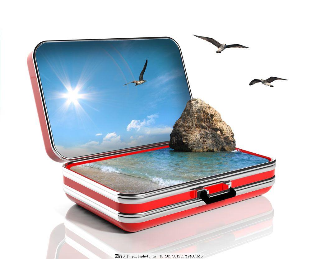 创意旅行箱图片素材 旅行箱 行李箱 创意旅游素材 海滩风景 大海风景
