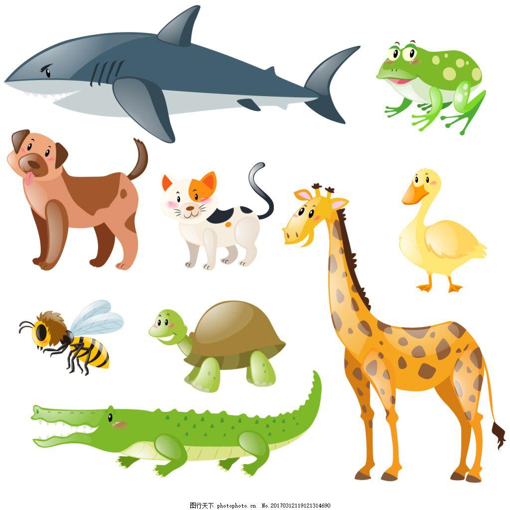 一组海洋陆地生物 可爱 卡通 卡哇伊 矢量素材 动物 小动物 创意设计