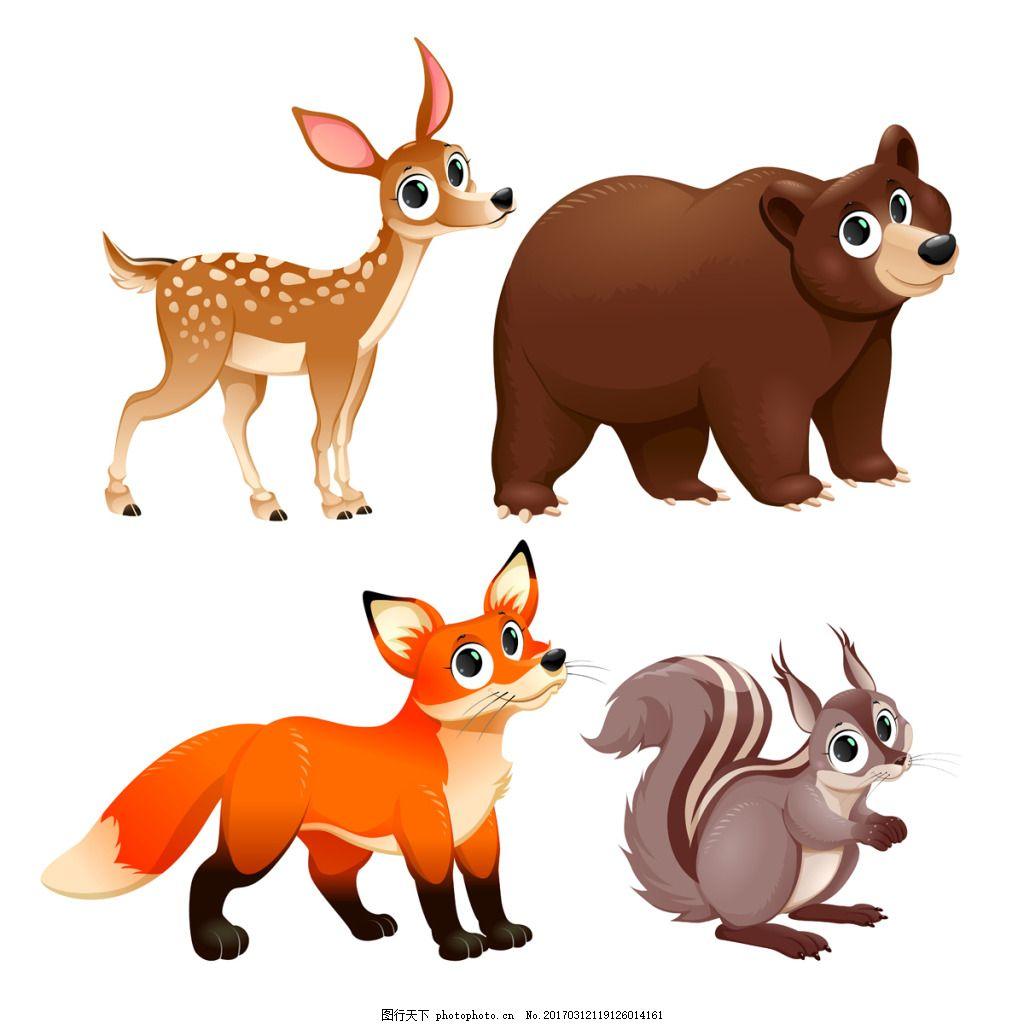 一组大眼睛的可爱动物素材