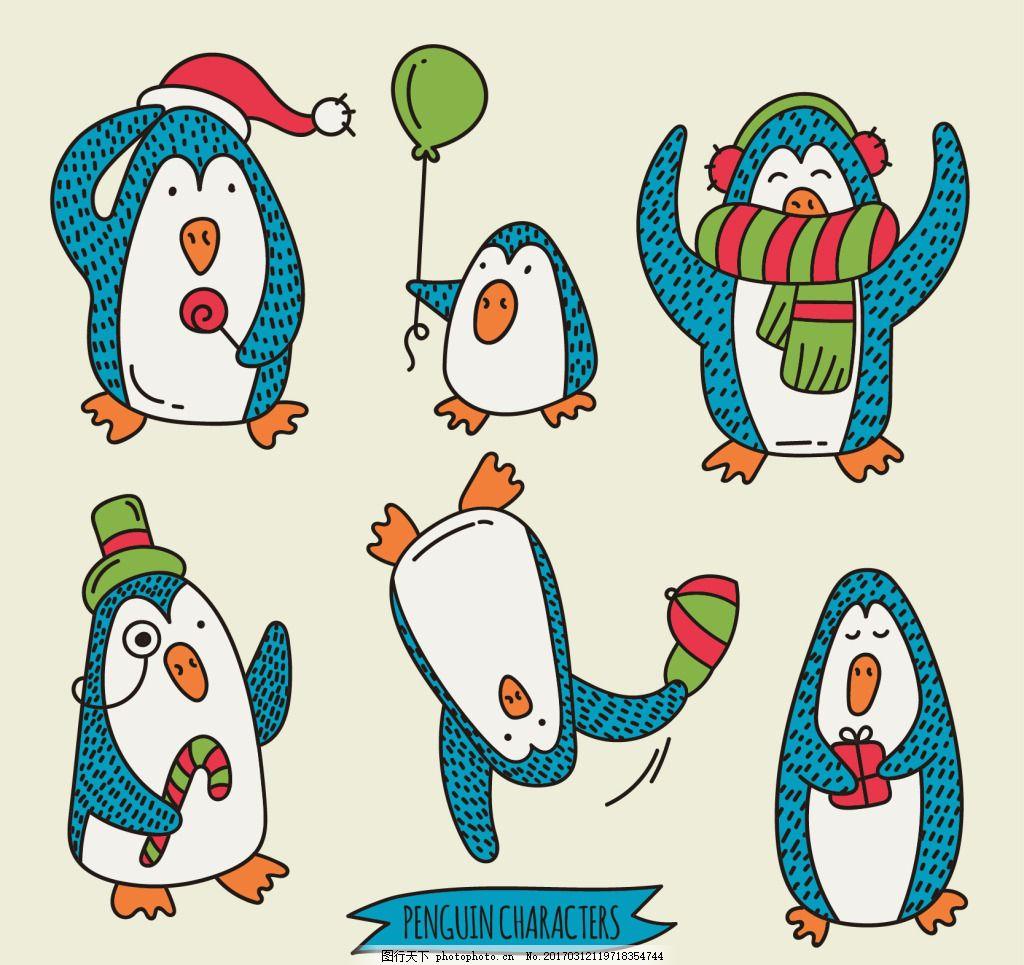 手绘卡通企鹅圣诞