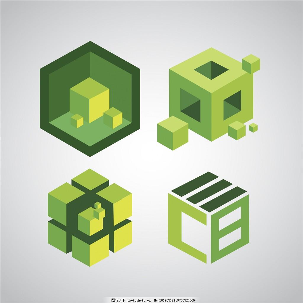 绿色创意立体标志图片