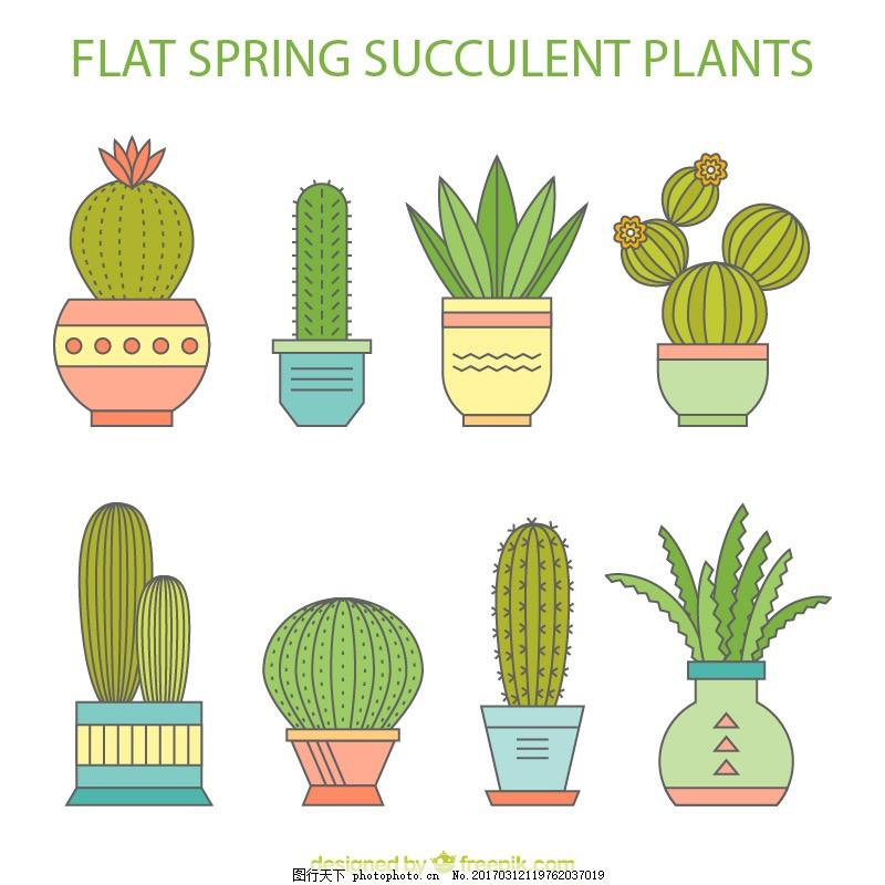 卡通仙人掌多肉盆栽矢量 多肉植物 盆栽绿色 植物手绘