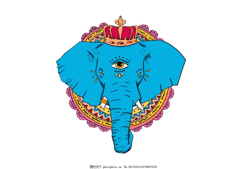 手绘蓝色大象