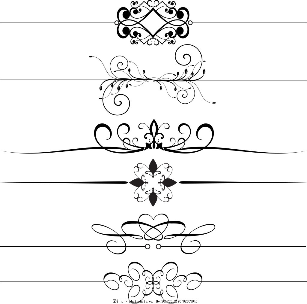 簡約手繪花紋花邊素材