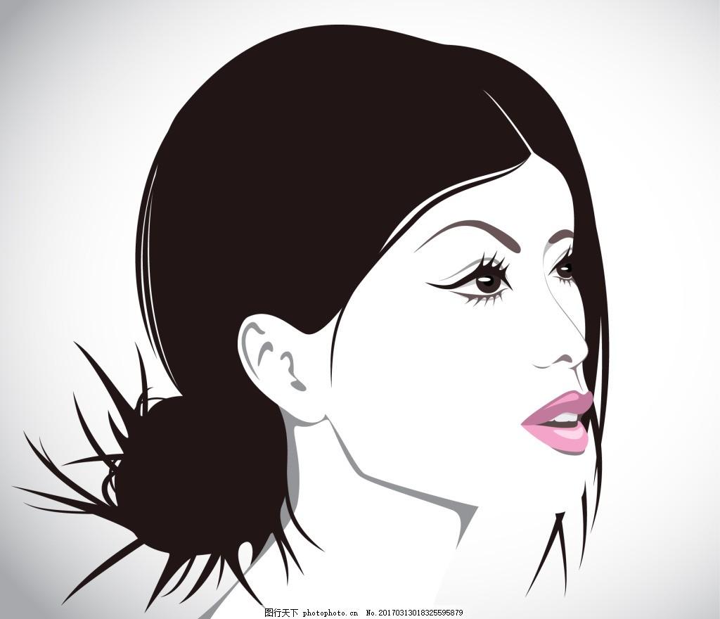 手绘女人头像