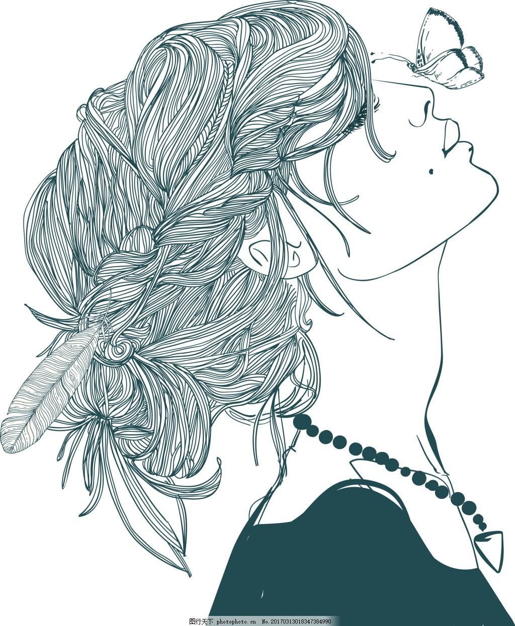 手绘女生 人物 蝴蝶