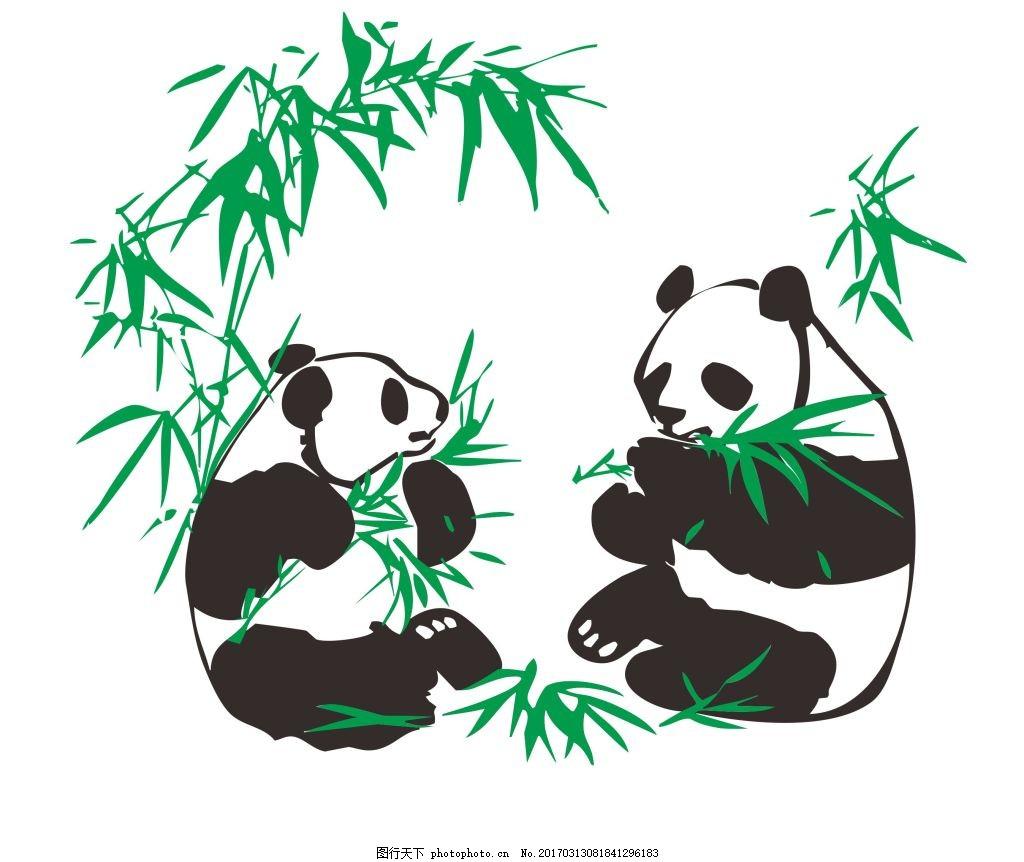 熊猫吃竹子 黑白 绿