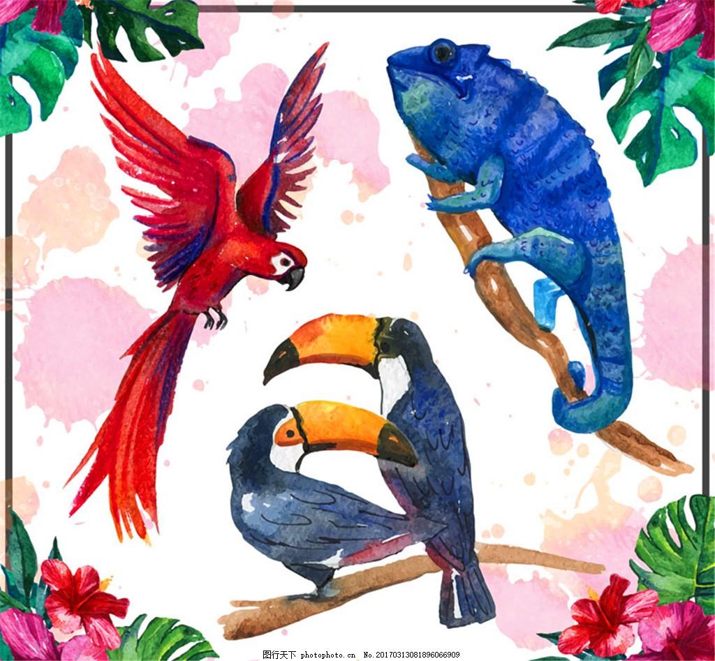 4款水彩绘热带动物矢量素材