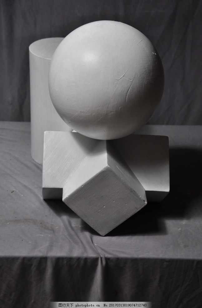 石膏几何体组合 球体