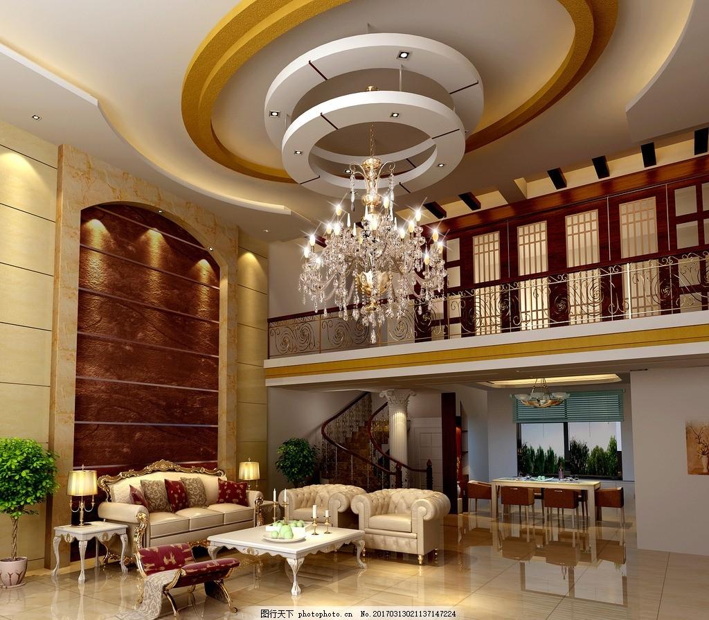 欧式复式客厅效果图 复试 豪华 明亮