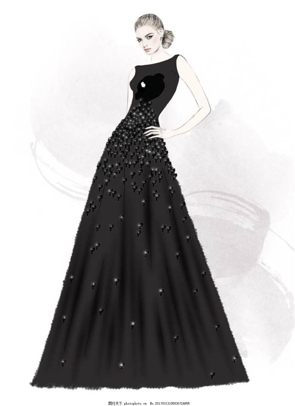 黑色长礼服设计图