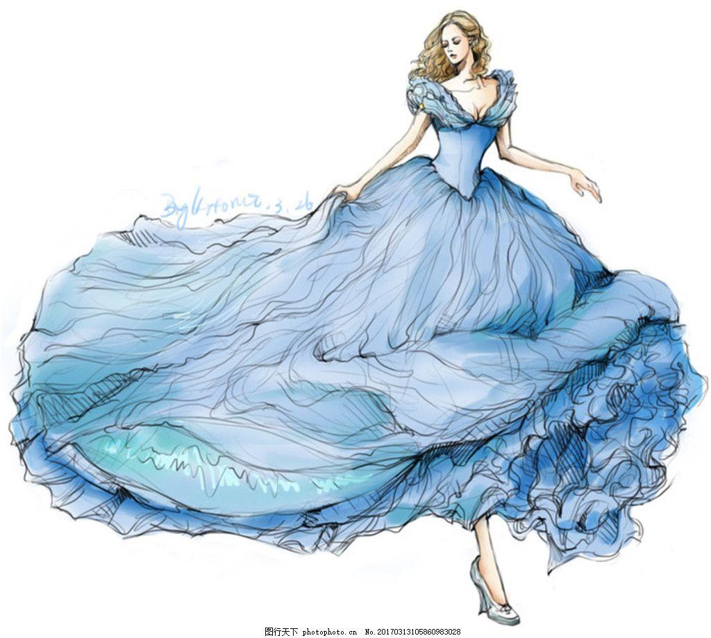 蓝色长裙礼服设计图 时尚女装 职业女装 职业装 女装设计效果图