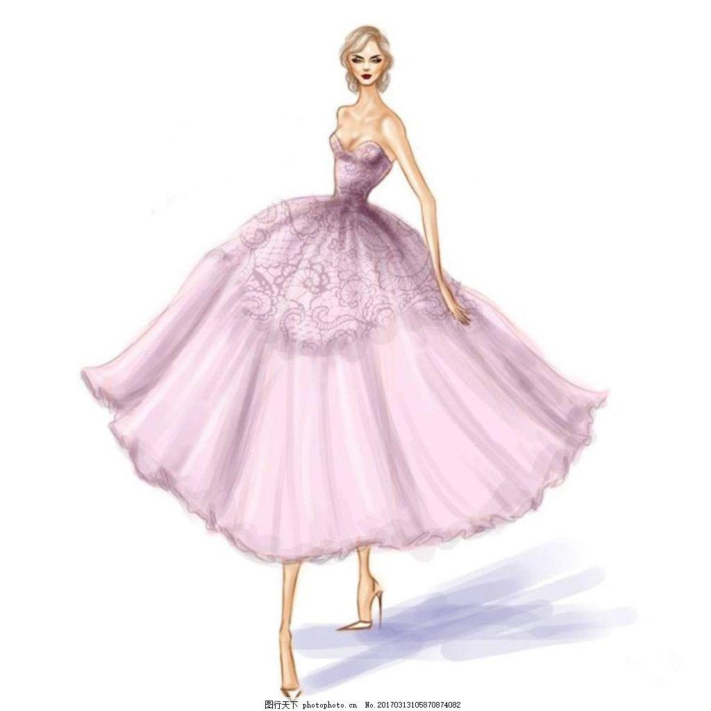 紫色婚纱设计 欧式 大气 手绘 简约 现代