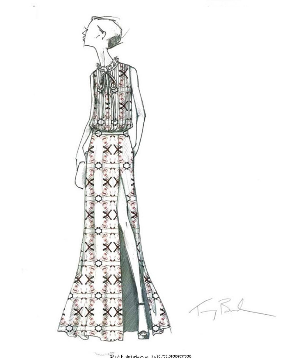 时尚连衣裙设计图 服装设计 时尚女装 职业女装 职业装 女装设计效果