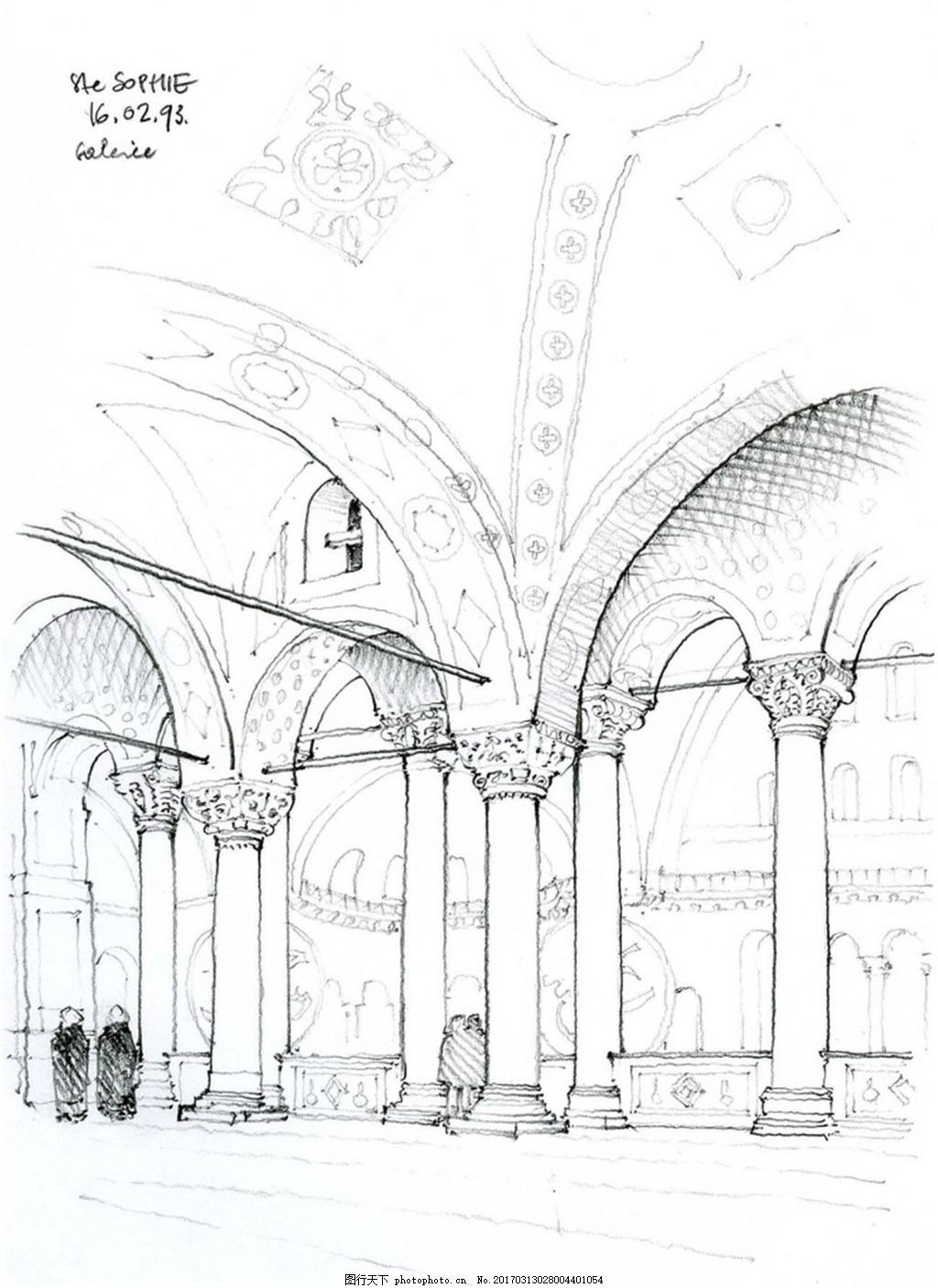 欧式建筑拱门柱 建筑平面图素材免费下载 手绘图 图纸 城堡 建筑施工