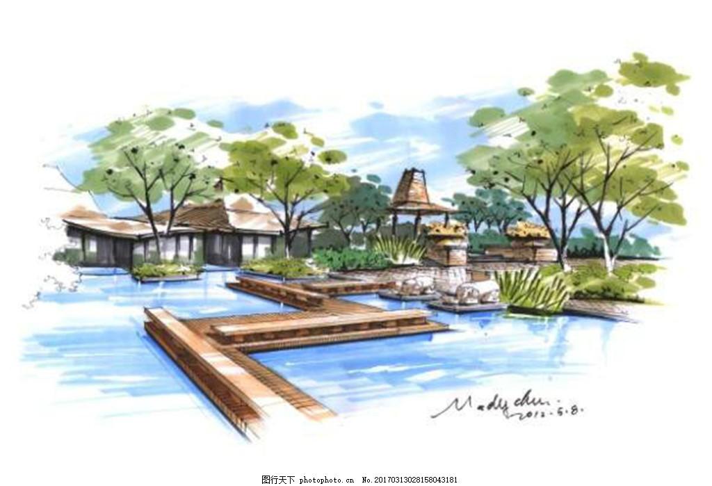 房地产效果图 广告设计模板 园林景观 园林水景 游泳池 风景 园林风