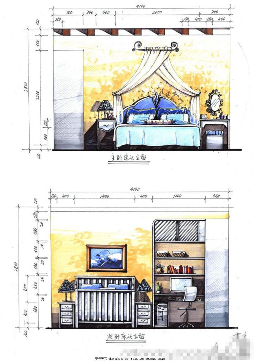 快题设计卧室施工图,室内设计 家装效果图 家装平面图