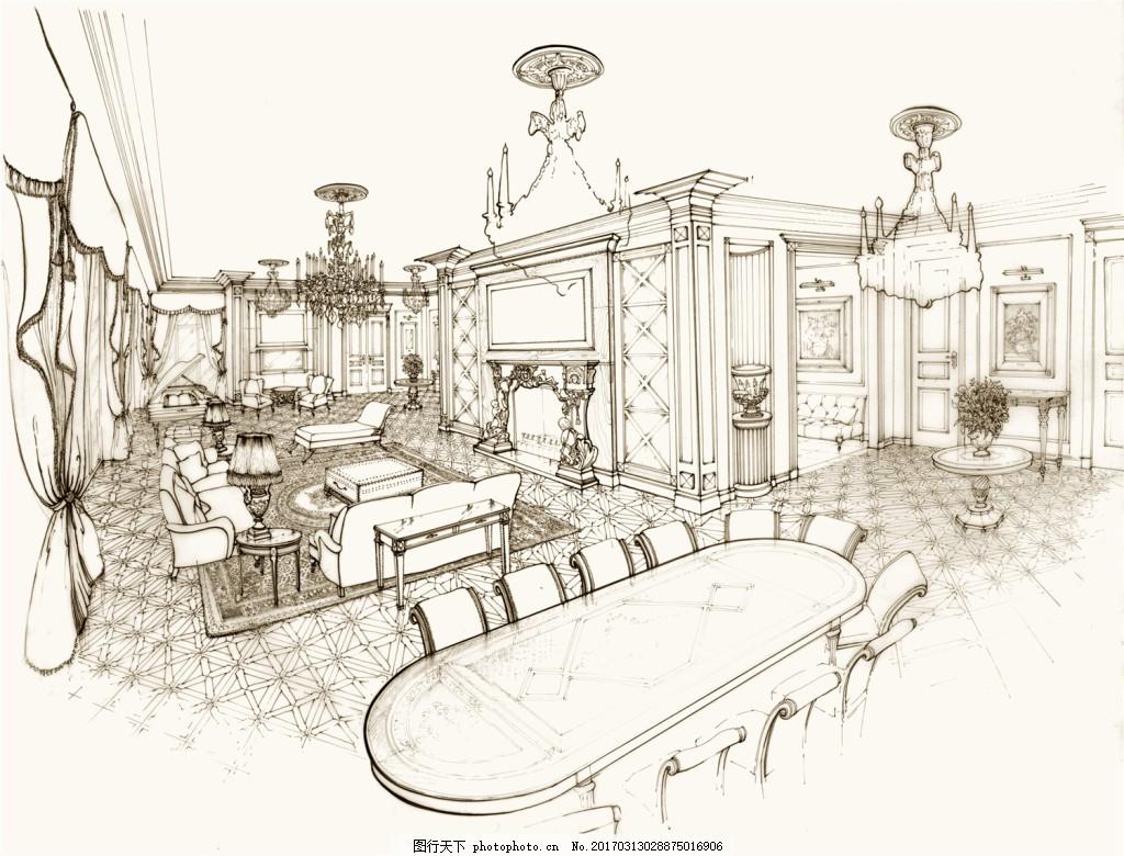 餐厅装修效果图 建筑平面图素材免费下载 手绘图 图纸 城堡 建筑施工