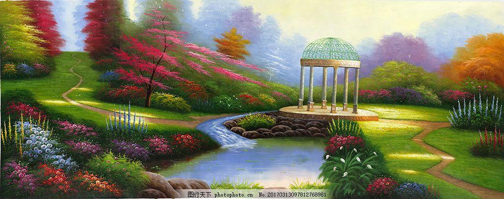 欧式花园风景油画装饰画 高清 大幅 美式