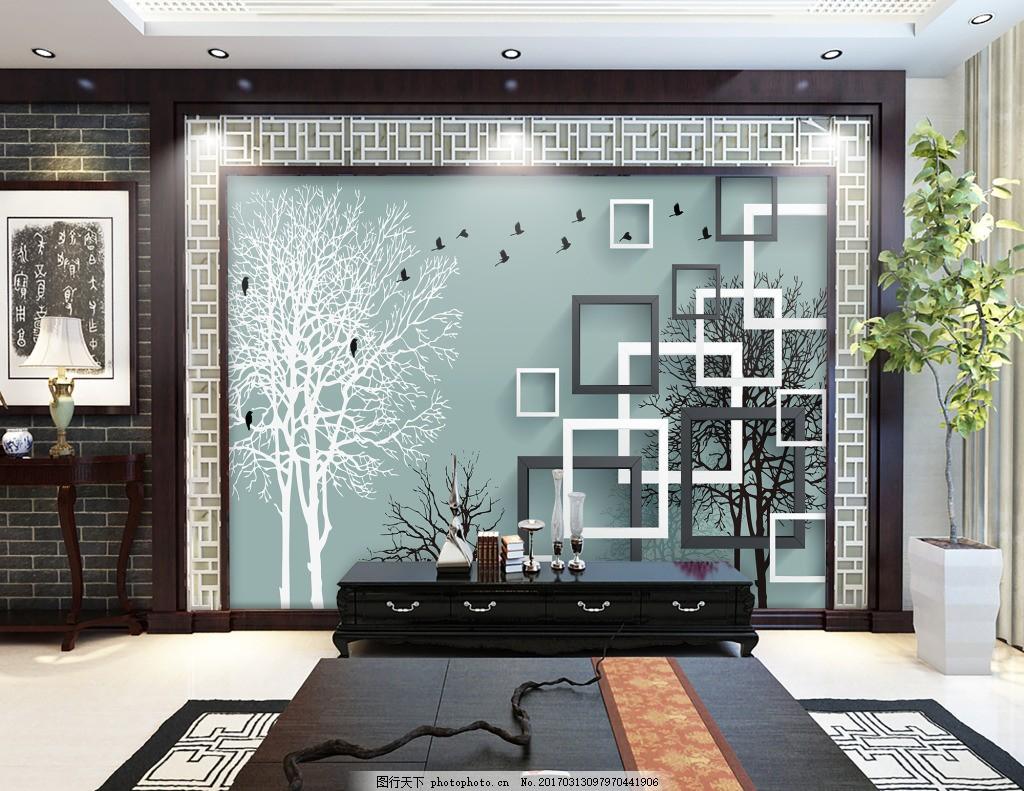 方格子装饰背景墙 壁纸 风景 高分辨率图片 高清大图 建筑 装饰设计