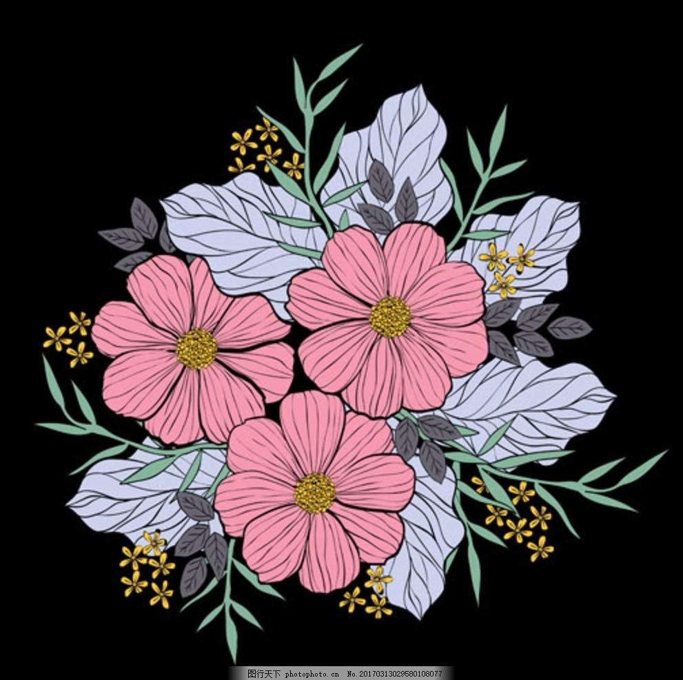 手绘黑底春季花卉插图