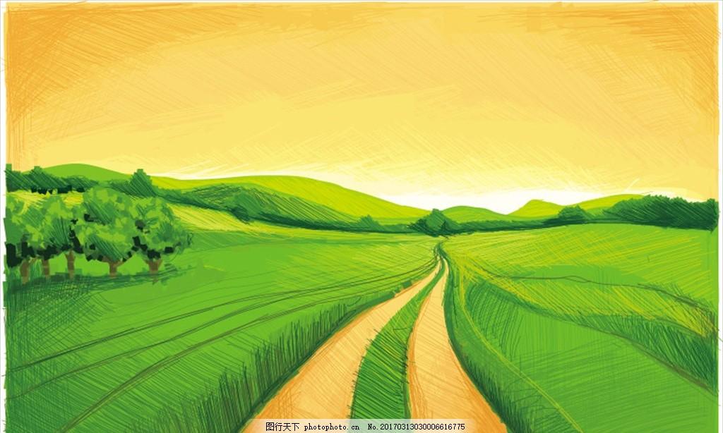 设计图库 广告设计 海报设计  手绘田野 大自然 草地 绿色 环保 健康