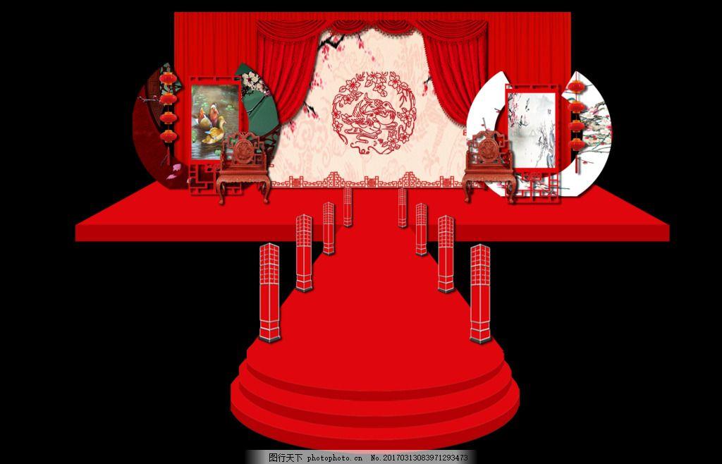 古风传统婚礼舞台 带江南风 长筒灯笼