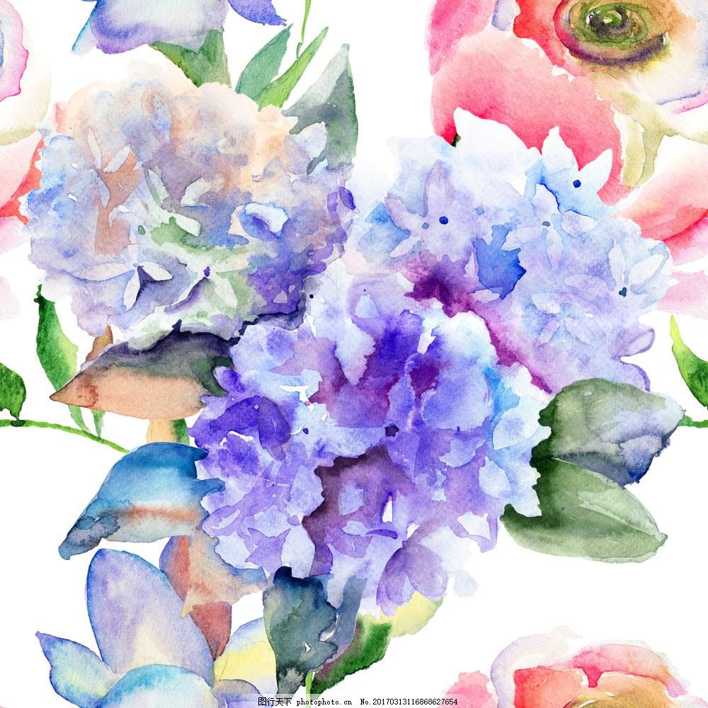 绣球花水彩画背景素材图片