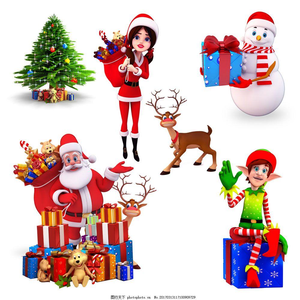 圣诞老人与装饰物图片素材 礼物 礼盒 圣诞老人 装饰物 圣诞树 鹿
