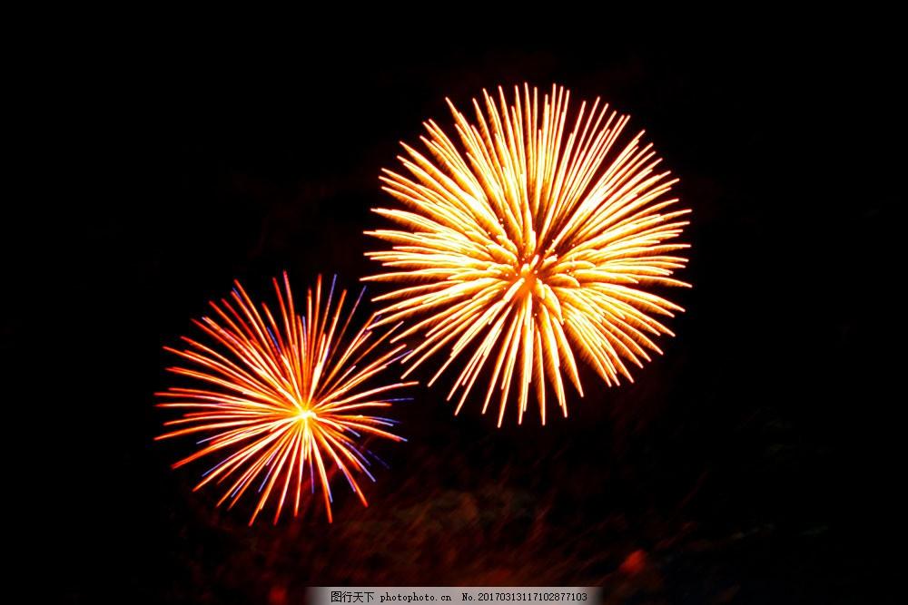 橙色烟花 橙色烟花图片素材 海边城市夜景 烟花风景 烟花摄影 烟花