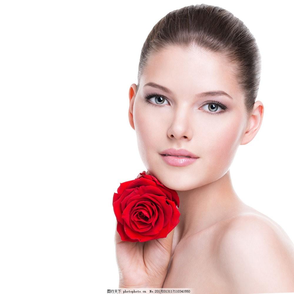 手拿玫瑰的时尚美容模特美女 手拿玫瑰的时尚美容模特美女图片素材