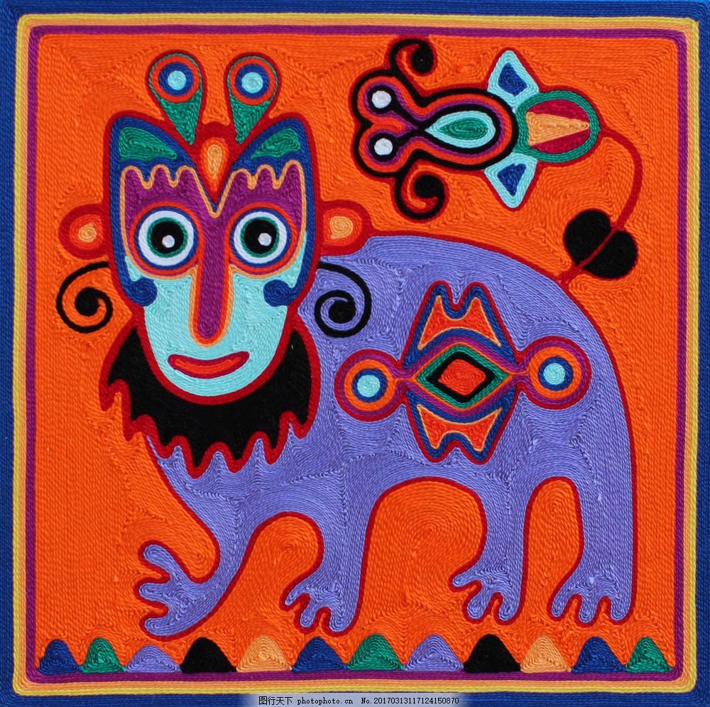 创意动物毛线装饰画图片