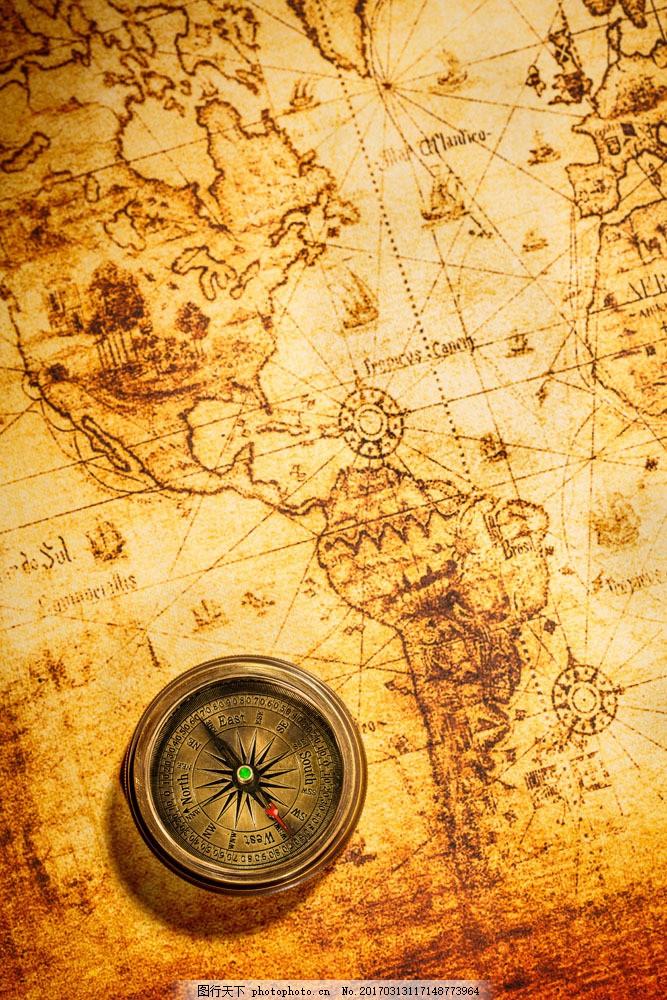 怀旧地图指南针 怀旧地图指南针图片素材 航海地图 复古 探险 古典